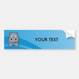 Hippo Cartoon With Blue Water Background Bumper Sticker