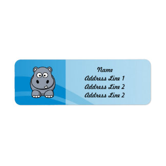 Hippo Cartoon With Blue Water Background Label