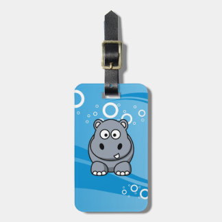 Hippo Cartoon With Blue Water Background Tag For Luggage