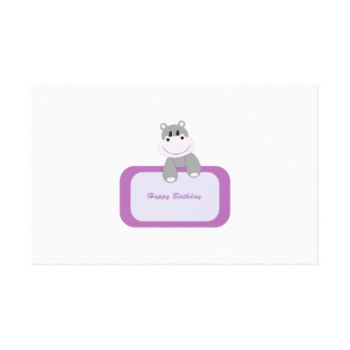 Hippo cartoon with Happy birthday message Gallery Wrap Canvas