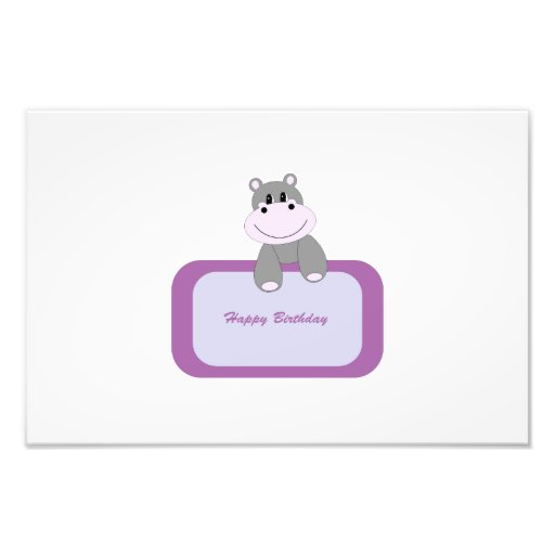 Hippo cartoon with Happy birthday message Photographic Print