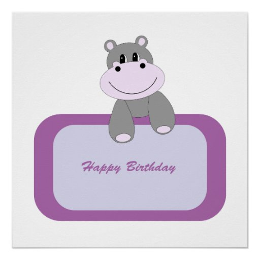 Hippo cartoon with Happy birthday message Perfect Poster