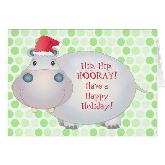 Hippo Christmas Greeting Card