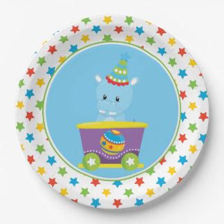 Hippo | Circus Train | Circus Theme Paper Plate