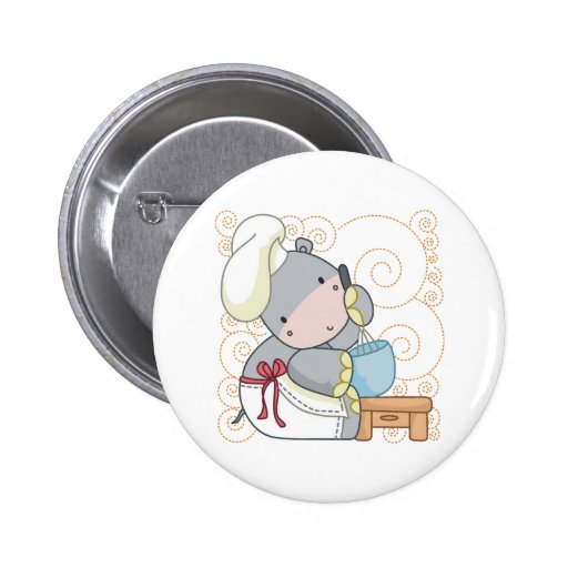 Hippo Cook 2 Inch Round Button