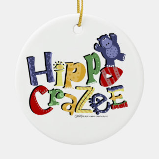 Hippo Crazee- for the really crazy Hippo Lover Double-Sided Ceramic Round Christmas Ornament