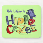Hippo Crazee (on light colors) Mouse Pad