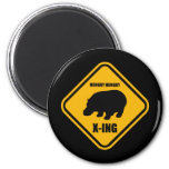 Hippo Crossing X-ing Sign 2 Inch Round Magnet