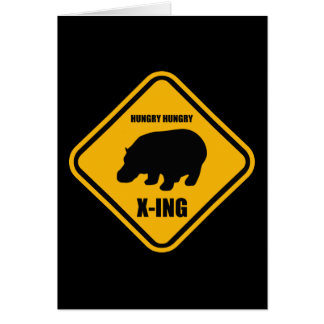Hippo Crossing X-ing Sign Card
