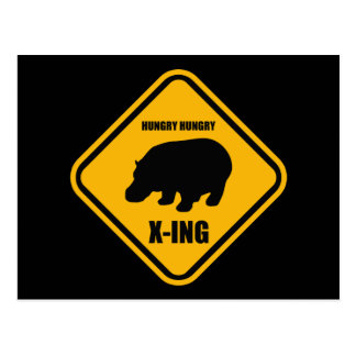 Hippo Crossing X-ing Sign Postcard