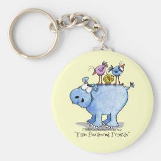 Hippo- Fine Feathered Friends Basic Round Button Keychain