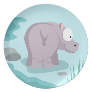 Hippo from my world animals serie plate