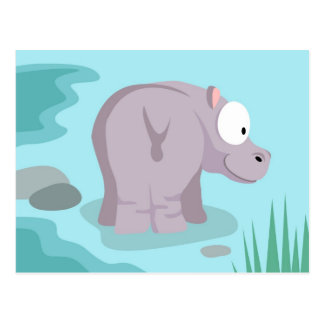 Hippo from my world animals serie postcard