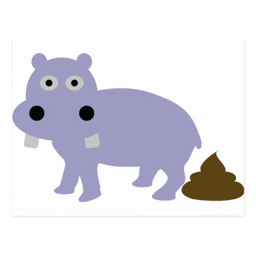 hippo fun icon postcard