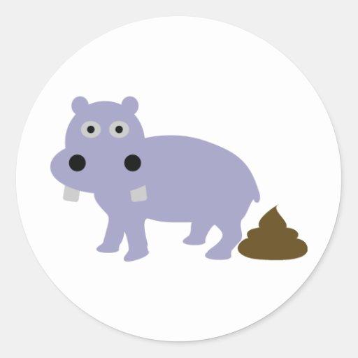 hippo fun icon round stickers