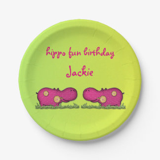 hippo fun 7 inch paper plate