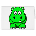 Hippo Green Greeting Cards