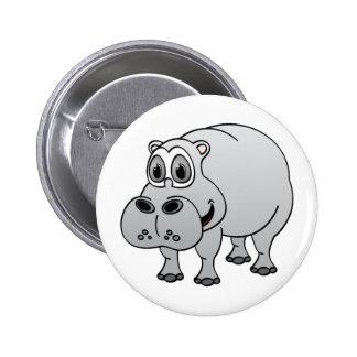 Hippo Grey Cartoon 2 Inch Round Button