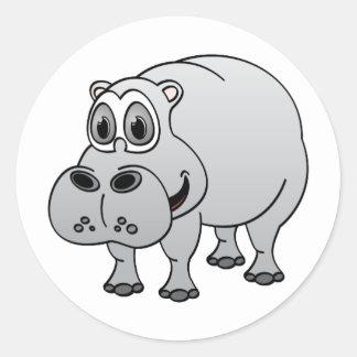 Hippo Grey Cartoon Classic Round Sticker