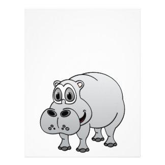 Hippo Grey Cartoon Letterhead