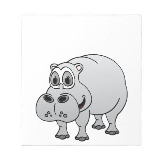 Hippo Grey Cartoon Memo Pads