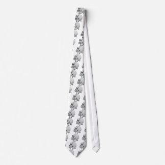 Hippo Grey Cartoon Neck Tie