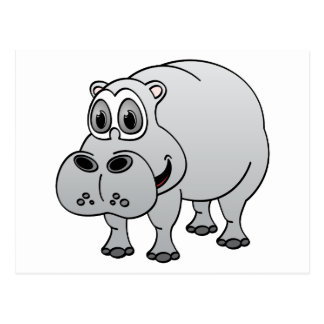 Hippo Grey Cartoon Postcard