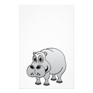 Hippo Grey Cartoon Stationery
