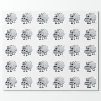 Hippo Grey Cartoon Wrapping Paper