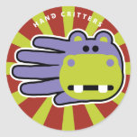 Hand shaped Hippo Hand Classic Round Sticker