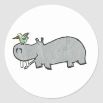 Hippo hanging out with his bird friend classic round sticker