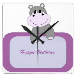 Hippo Happy Birthday Wallclocks