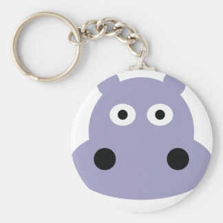 hippo head basic round button keychain