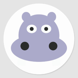 hippo head classic round sticker