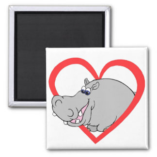 Hippo Heart 2 Inch Square Magnet