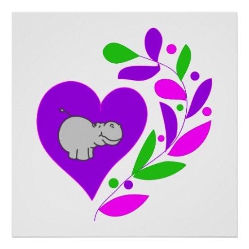 Hippo Heart Posters