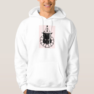 hippo in a party hat hooded pullover