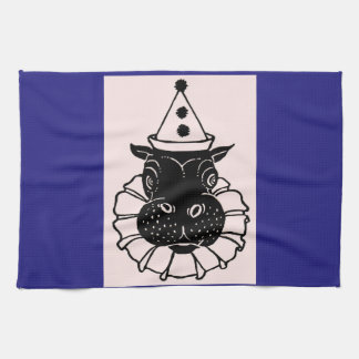 hippo in a party hat kitchen towel