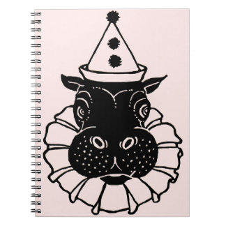 hippo in a party hat spiral notebook