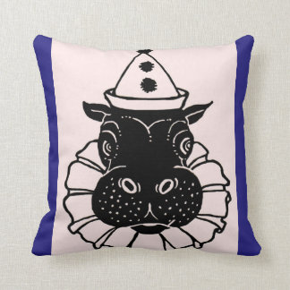hippo in a party hat throw pillow