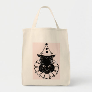 hippo in a party hat tote bag