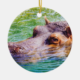Hippo In Colorful Water, Animal Photography Ceramic Ornament