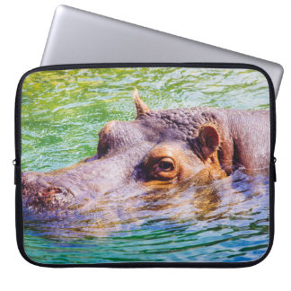 Hippo In Colorful Water, Animal Photography Computer Sleeve