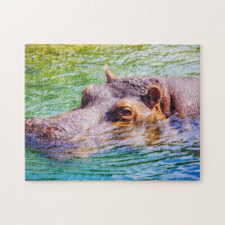 Hippo In Colorful Water, Animal Photography Jigsaw Puzzle