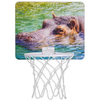 Hippo In Colorful Water, Animal Photography Mini Basketball Backboard