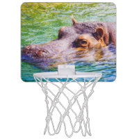 Hippo In Colorful Water, Animal Photography Mini Basketball Backboards