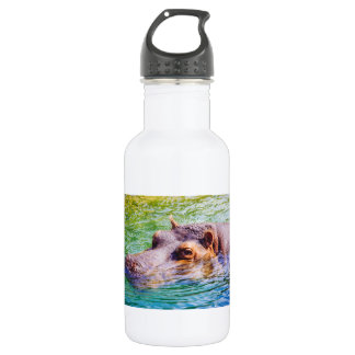 Hippo In Colorful Water, Animal Photography Stainless Steel Water Bottle