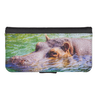 Hippo In Colorful Water, Animal Photography Wallet Phone Case For iPhone SE/5/5s