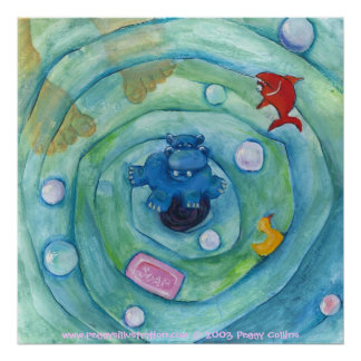 Hippo in the Bathtub Poster