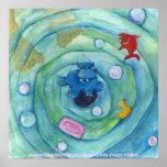 Hippo in the Bathtub Print
